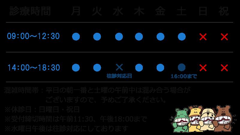 愛媛県松山市鷹子町 松本歯科医院|診察時間